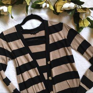 TCEC tan + black striped cardigan